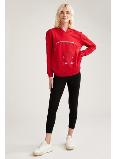 Defacto –Fit Kedi Baskılı Kapüşonlu Sweatshirt Kırmızı